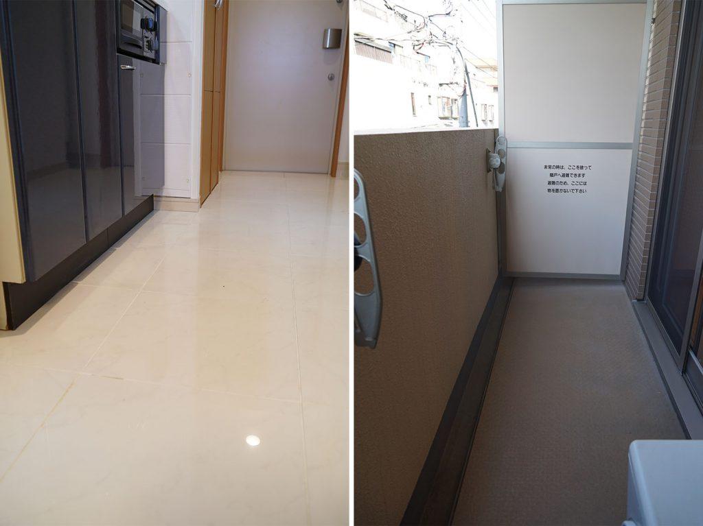 お掃除しやすそうな廊下の床とバルコニー