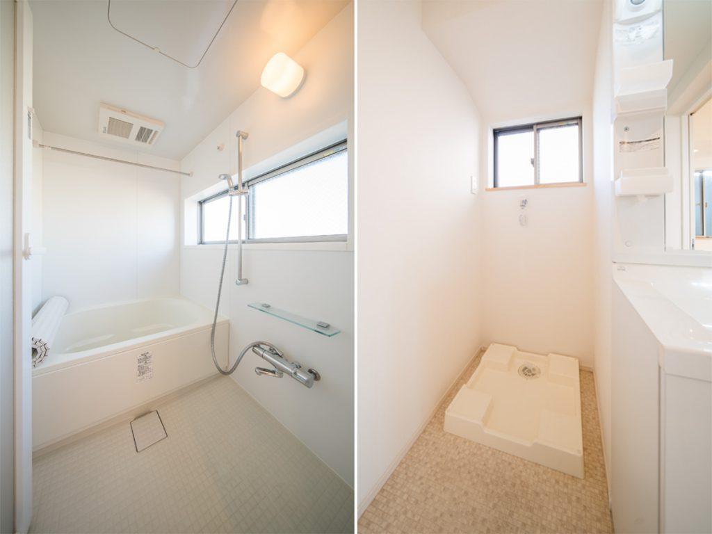 お風呂は脚を伸ばして入れるゆったりさ。線路側なので、気持ちよくなって歌っても大丈夫そう。洗濯機置場も室内に。