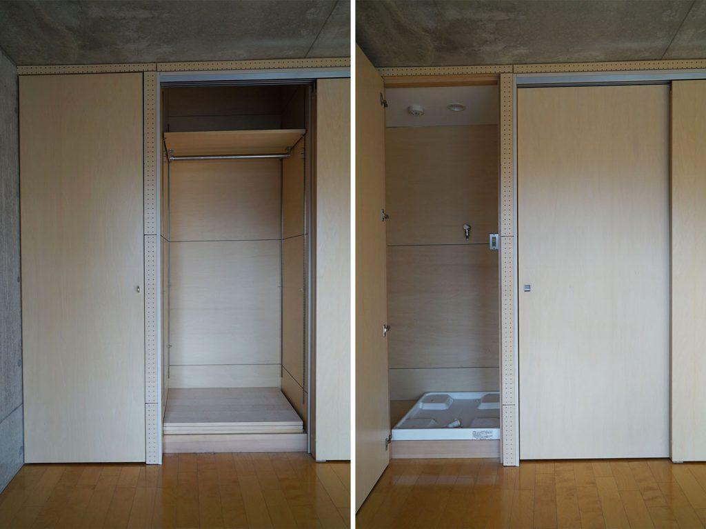 左の扉が洗濯機置き場、右側が収納です