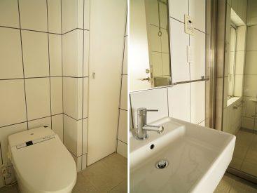 タンクレストイレと収納、洗面