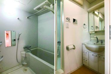 独立洗面台。鏡の中に色々しまえる。