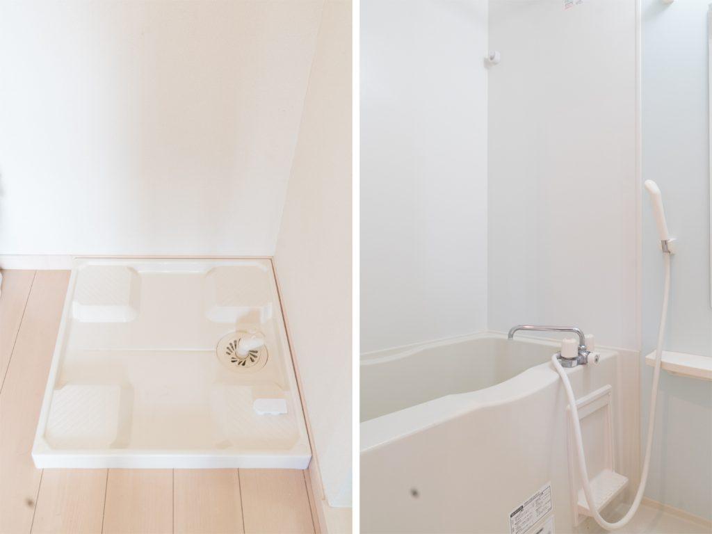 室内洗濯機置場とバスルーム。
