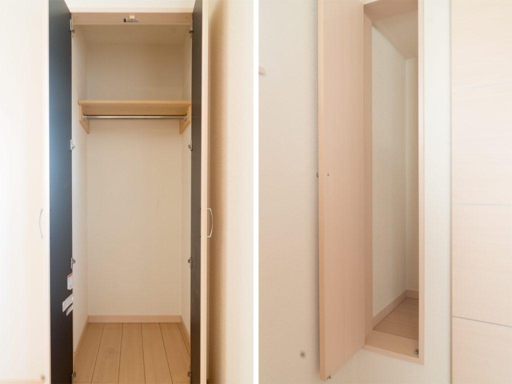 コンパクトな室内だけど、収納がちゃんとついてて安心。