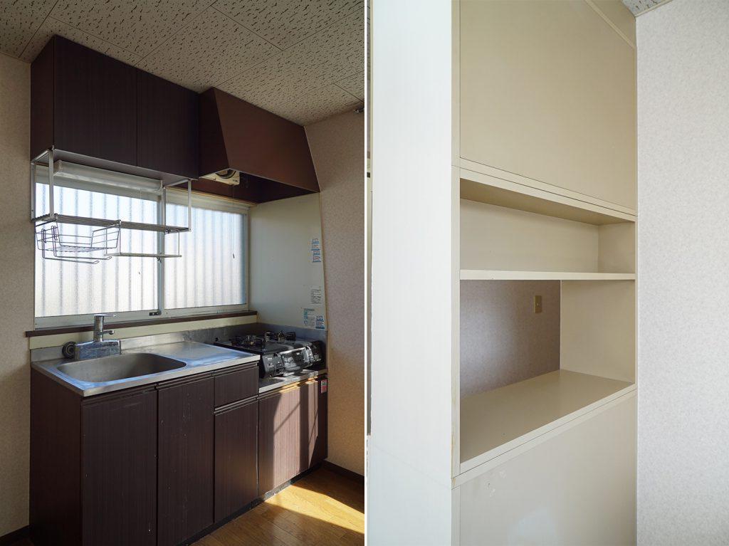 台所とその横のちょっとした棚