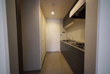 キッチン、後ろの扉が洗濯機置き場です