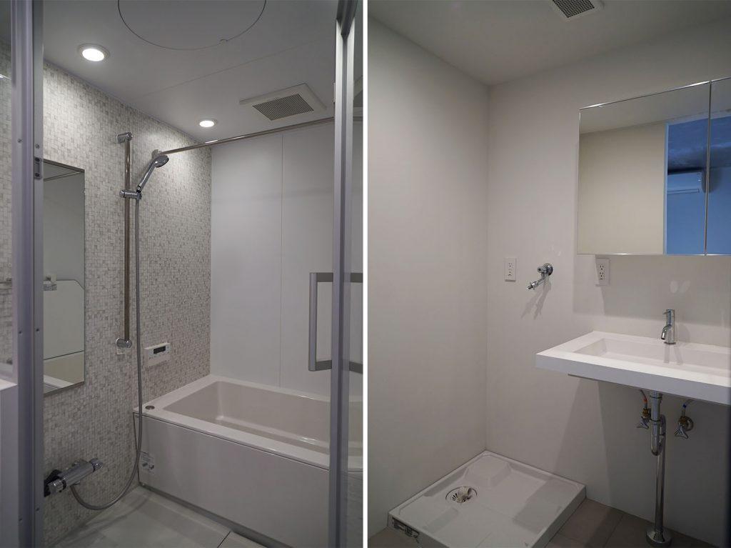 浴室の扉は透明なタイプ