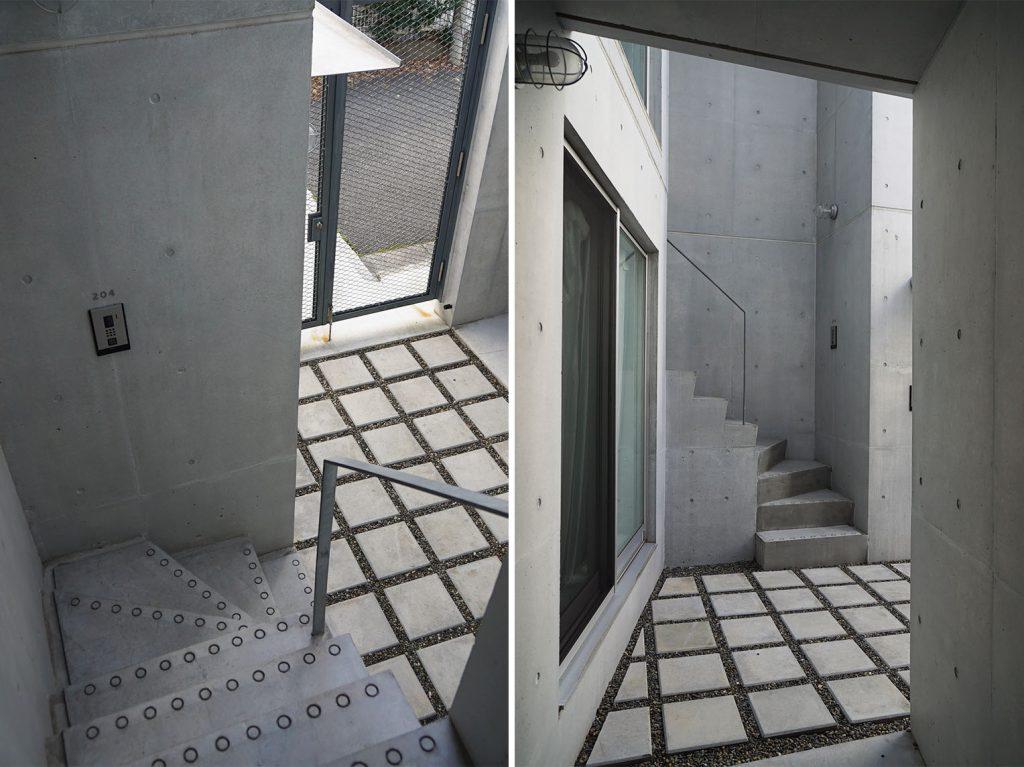 専用階段を上がってお部屋へ、階段の◯がかわいい