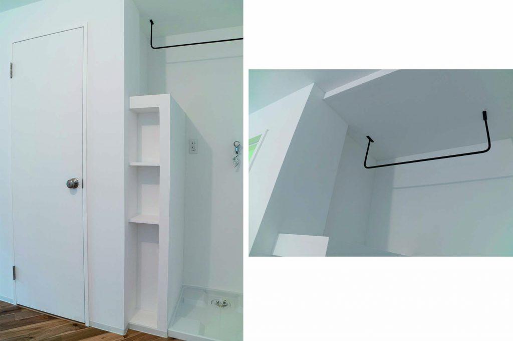 アイアンのハンガーかけ。小さめの棚も何かと使える。