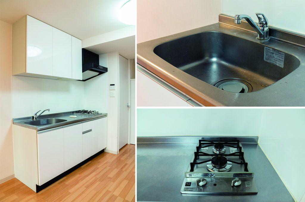 二人暮らしなら十分な広さのキッチン。