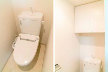 トイレに隠れる収納あります。