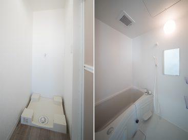 洗濯機置き場、お風呂ももちろん新品のもの。