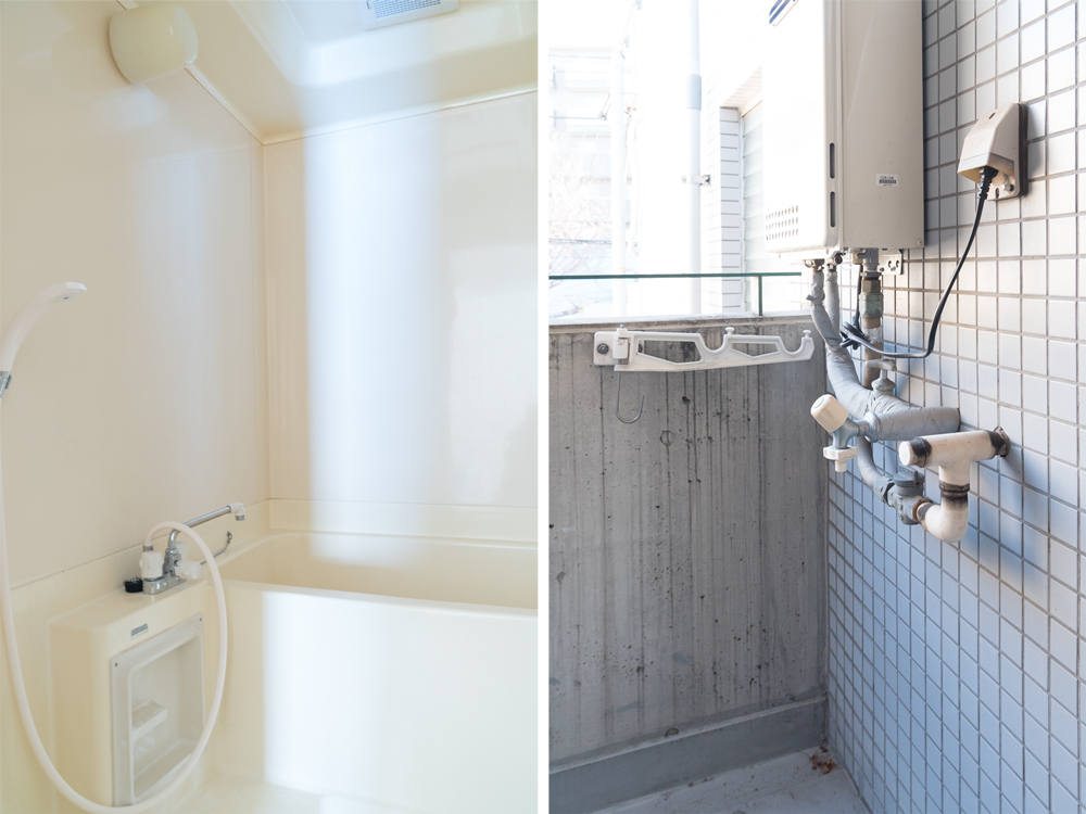 バスルームと室外洗濯機置き場。