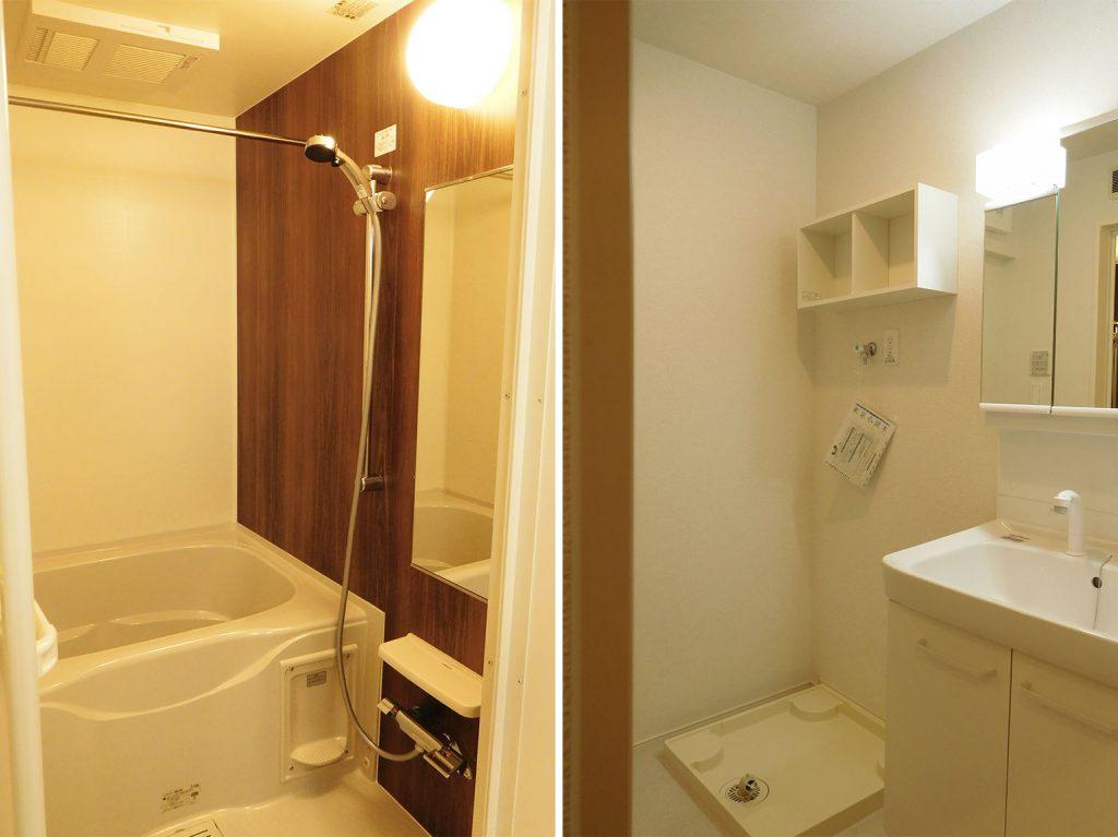 洗面スペース、洗濯機の上の棚は有難い