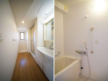 洗面スペース全体像とお風呂