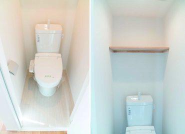 玄関入って横のトイレ。ストックや本が置ける棚つき。