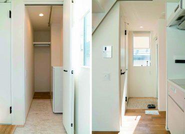 玄関も明るい…。入ってすぐの収納はキャリーケースなどが置けて便利。