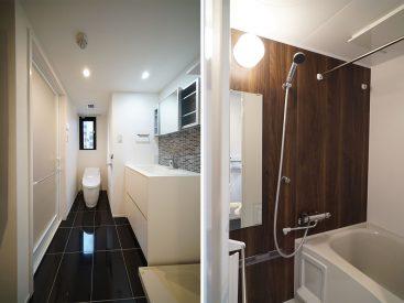 洗面スペース全体像と浴室