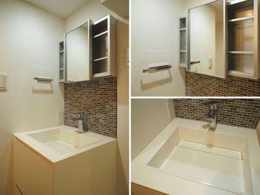 洗面台が美しいのって密かにテンション上がります。鏡はもちろん可動式