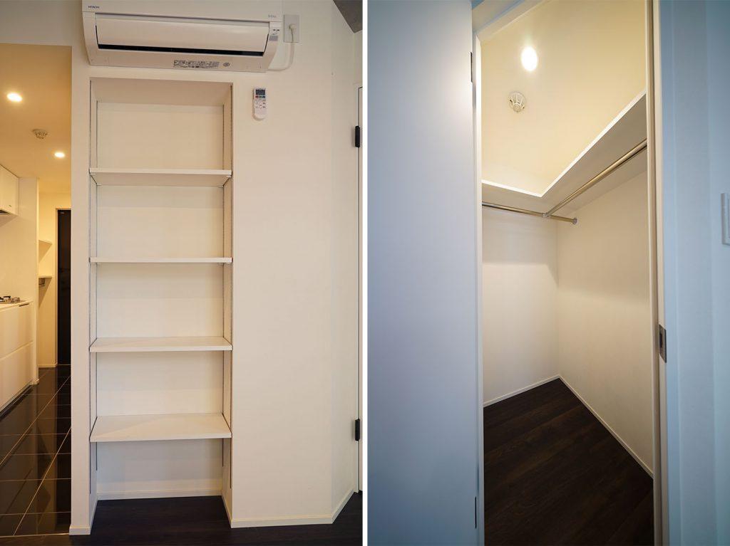 棚板調整できる収納棚とウォークインクローゼット