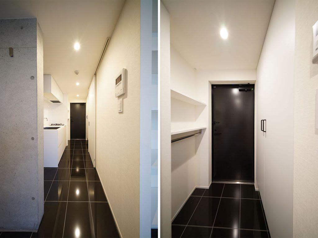輝く黒のタイル◎ 玄関両サイドに収納たくさんあります