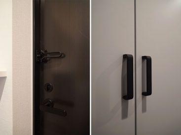 お部屋のいろんな取手など。玄関は扉含めぜんぶクロ!