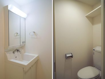 すっきりきれいな洗面台とトイレ