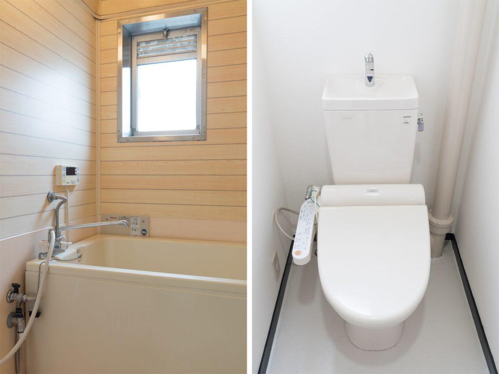 ちょっと年季の入ったバスルームとウォシュレット付きのトイレ。