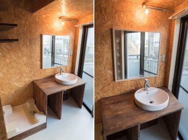 洗面台も木製です。かわゆす