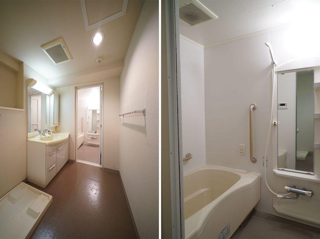 洗面スペース、浴室