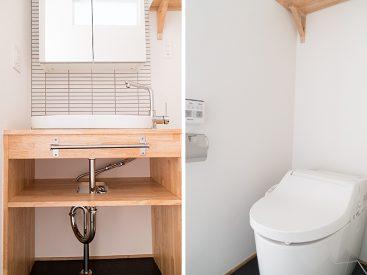 独立洗面台とトイレの様子(他のお部屋になりますので参考までに)。