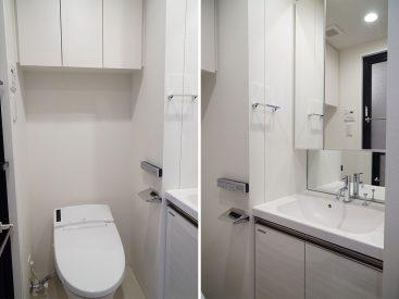 トイレには収納、洗面台は大きめ。(写真は反転の別部屋です)