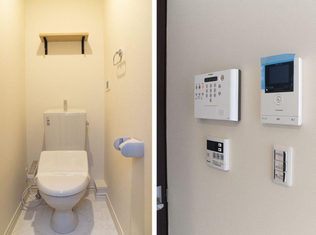 階段上がってきた廊下にトイレ。セキュリティもあります。