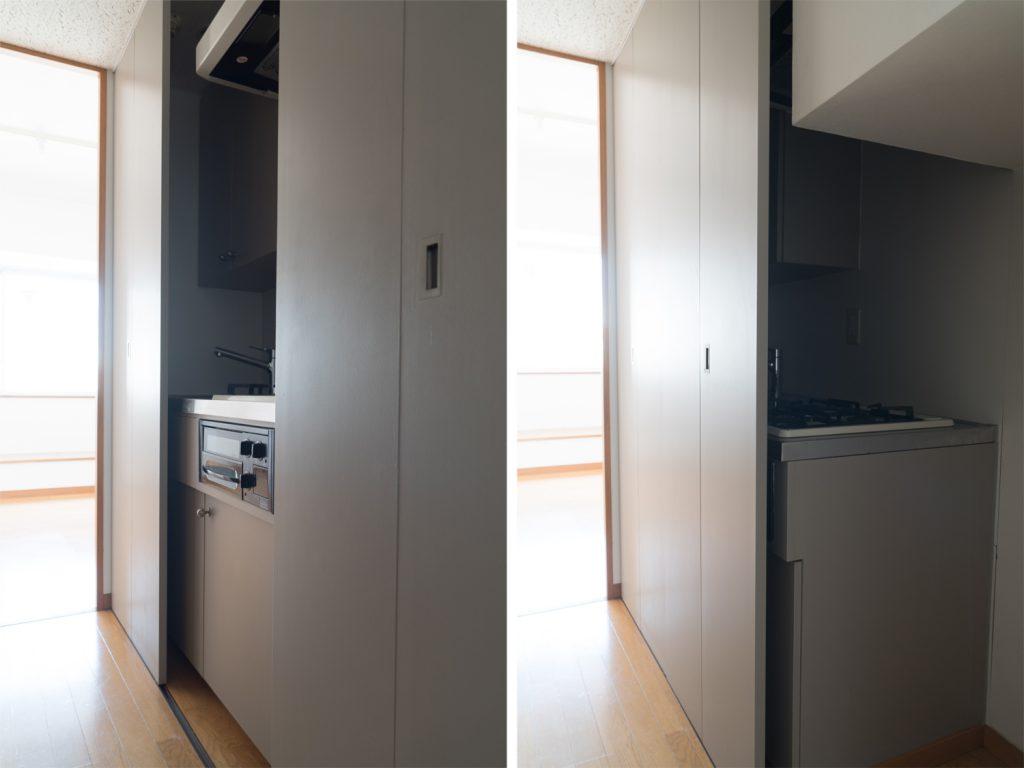 玄関すぐのキッチンとその横の室内洗濯機置き場はスライド扉で隠せます。
