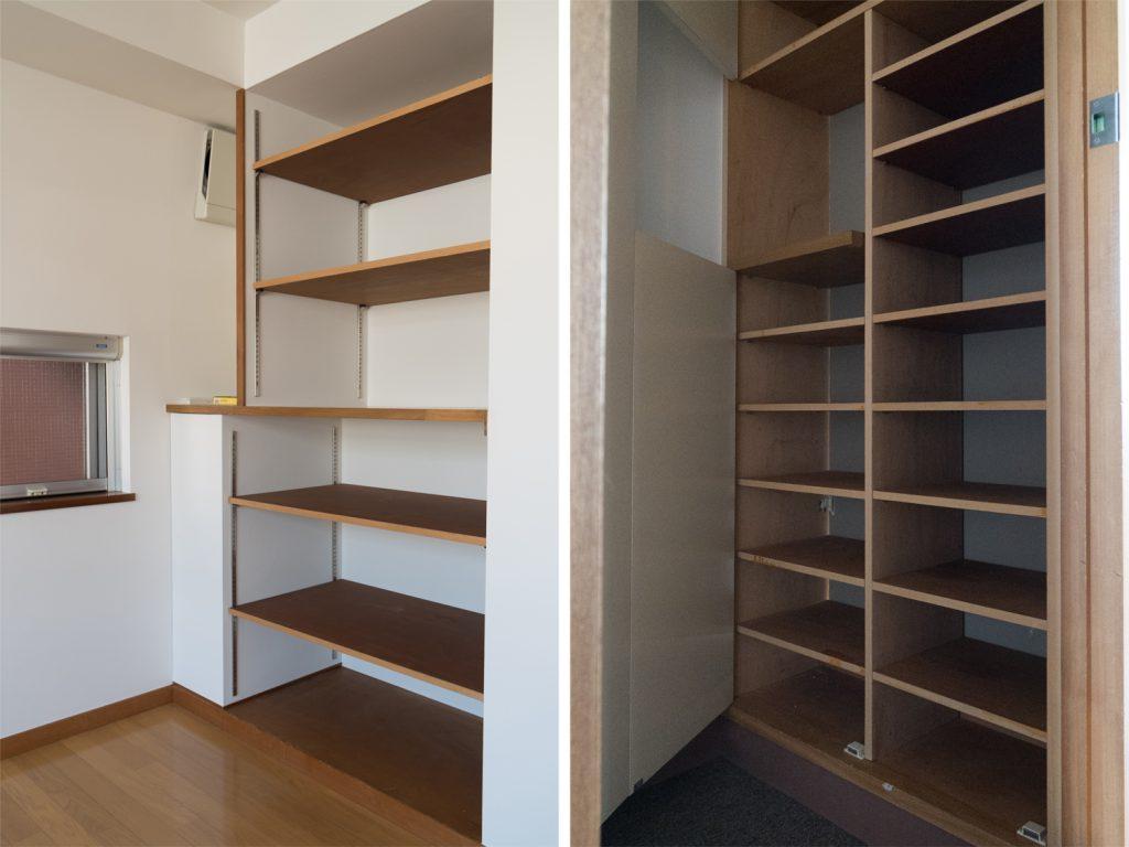 備え付けの棚と、シューズケース。収納が多いのです。