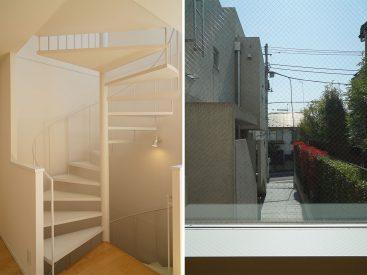2Fの螺旋階段の様子と窓からの眺め
