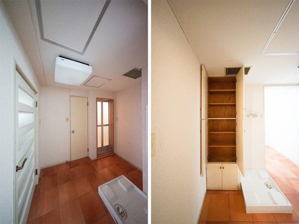 左写真は、左がトイレ、右がバスルーム、右写真は洗濯機置き場と収納。