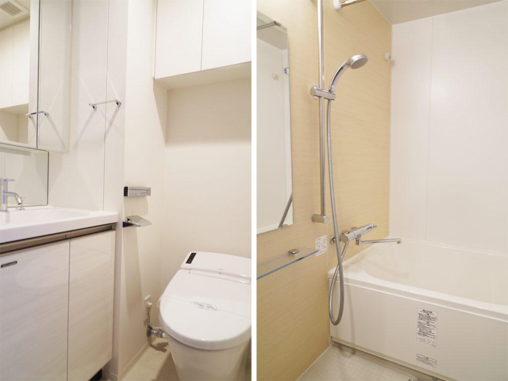 洗面スペースとバスルーム。