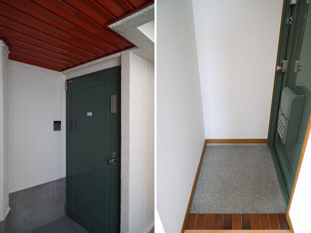 玄関前と、中の玄関