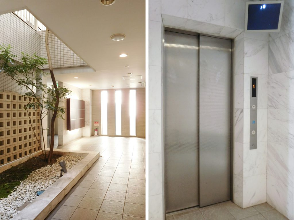 エントランス共用部と防犯カメラ付きエレベーター。セキュリティばっちり。