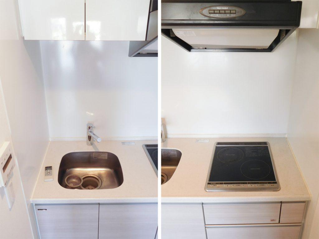 キッチンの設備はこんな感じ。IHですね。