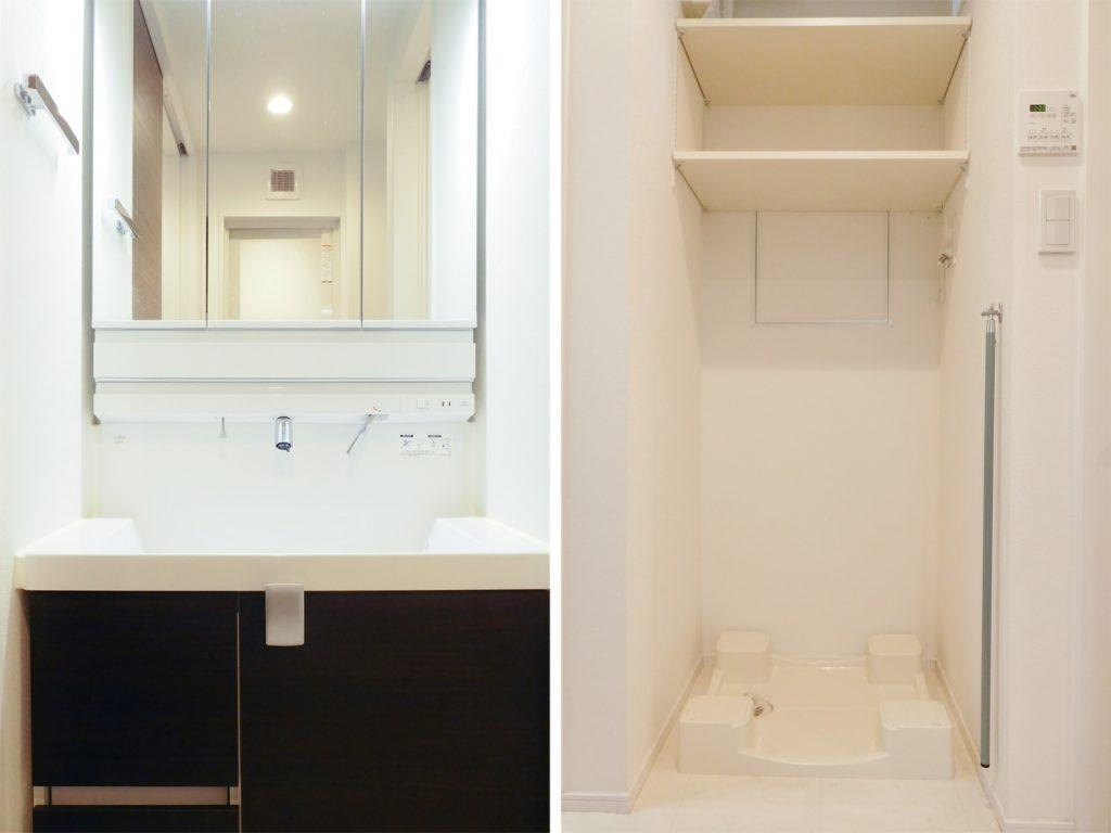 洗面スペースと室内洗濯機置場。