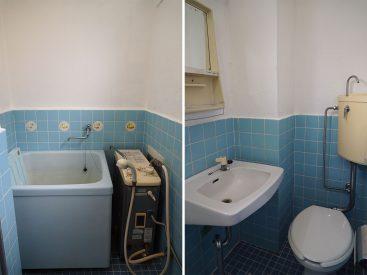水色タイルのかわいい洗面・お風呂スペース