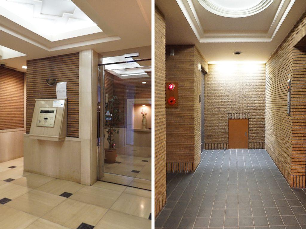 セキュリティばっちりのエントランスと2階の共用部廊下。