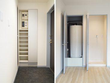 玄関のシューズケースと電気温水器のタンクスペース。