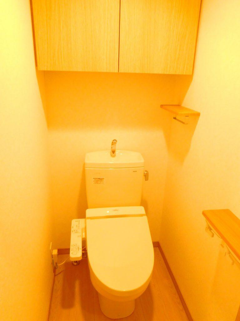 収納、温水洗浄付きトイレ