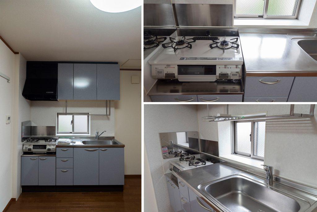 清潔感のあるキッチン。窓もあるのいいなぁ〜。