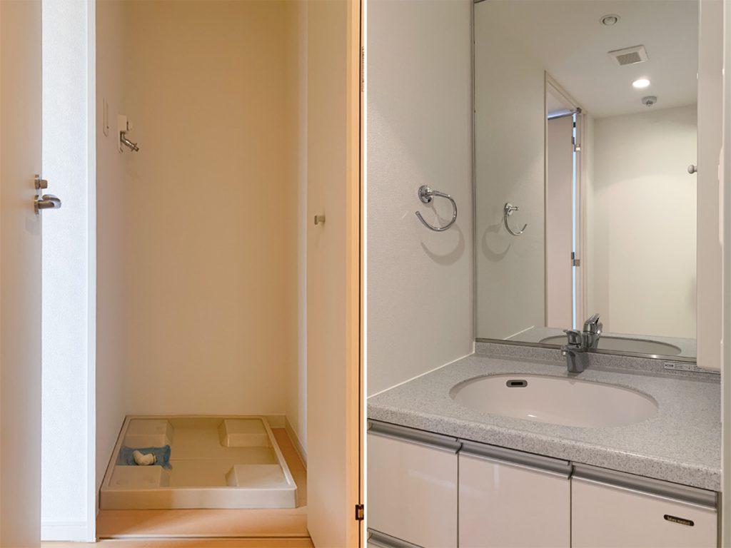 洗濯機置き場。大きな鏡の洗面台。