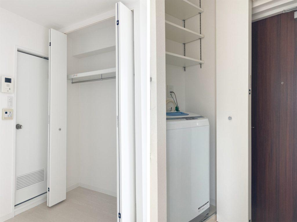 バスルーム横の収納と玄関すぐの洗濯機置き場。可変棚が嬉しいポイントです。