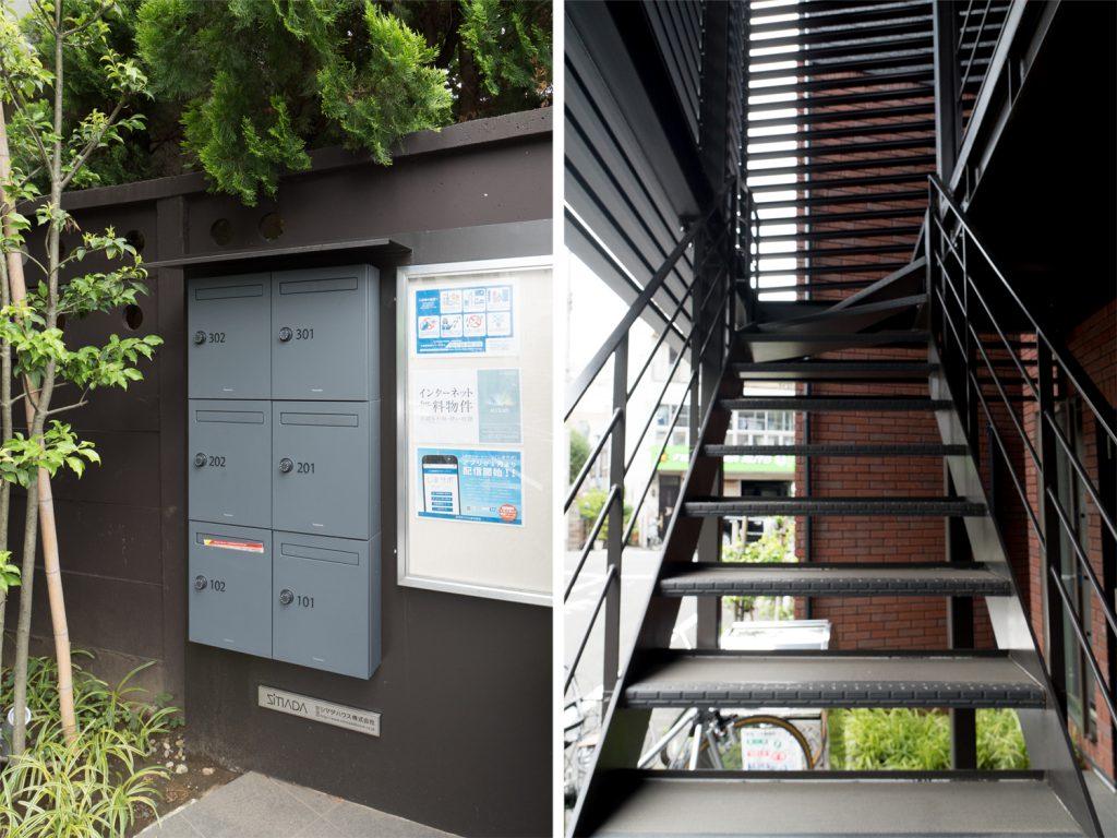 メールポストと共用階段。素敵です。