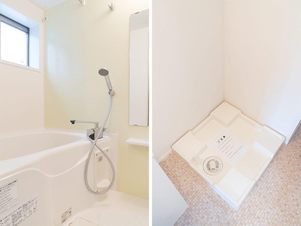 バスルームと室内洗濯機置き場。